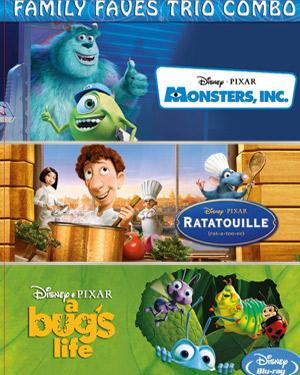Family Faves Trio Combo - Monsters Inc.,Ratatouille and A Bugs Life poster