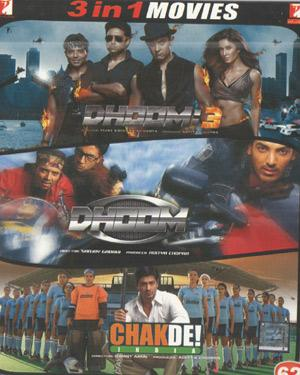 DHOOM3-DHOOM2-CHAKDE INDIA poster