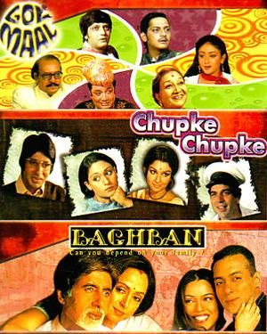 GOL MAAL - CHUPKE CHUPKE - BAGHBAN - 3 in 1 DVD  movie