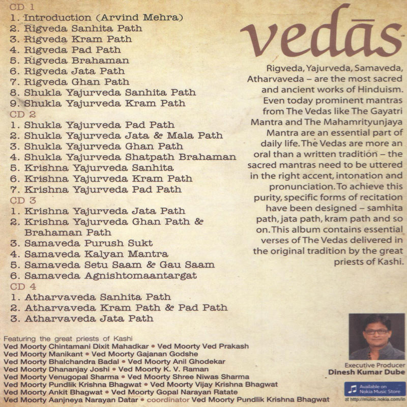 Sanskrit Of The Vedas Vs Modern Sanskrit: Buy Vedas-2012 Audio CD Online